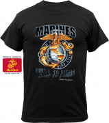 Black Ink Marines First To Fight T-Shirt Black 80280