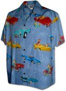 Pacific Legend Matched Front Men's Hawaiian Shirts - 442-3771 Blue