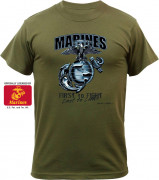Black Ink Marines First To Fight T-Shirt Olive Drab 80215