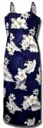 Pacific Legend Long Spaghetti Hawaiian Dresses - 318-3162-Navy