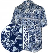 Men's Hawaiian Shirts Allover Prints - 410-3824 Navy