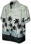 Pacific Legend Men's Border Hawaiian Shirts - 440-3759 Grey