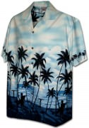 Pacific Legend Men's Border Hawaiian Shirts - 440-3759 Blue