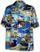 Men's Hawaiian Shirts Allover Prints 410-3719 Navy