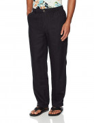 28 Palms Relaxed-Fit Linen Pant with Drawstring Black