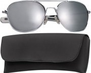 Rothco G.I. Type Aviator Sunglasses 52mm Chrome Frame / Mirror Lenses 10604