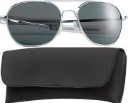 Rothco G.I. Type Aviator Sunglasses 52mm Chrome Frame / Smoke Lenses 10604