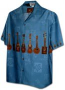 Pacific Legend Men's Border Hawaiian Shirts - 440-3753 Blue