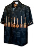 Pacific Legend Men's Border Hawaiian Shirts - 440-3753 Black