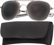 Rothco G.I. Type Aviator Sunglasses 52mm Gold Frame / Smoke Lenses 10604