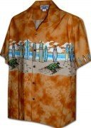 Pacific Legend Men's Border Hawaiian Shirts - 440-3749 Orange