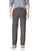 28 Palms Relaxed-Fit Linen Pant with Drawstring Dark Grey