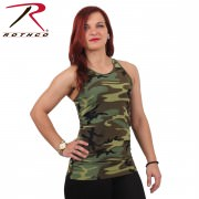 Rothco Women Workout Performance Tank Top Woodland Camo 44080