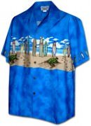 Pacific Legend Men's Border Hawaiian Shirts - 440-3749 Blue