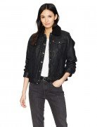 Levi's Women's Classic Sherpa Lined Faux Leather Trucker Jacket Black