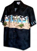 Pacific Legend Men's Border Hawaiian Shirts - 440-3749 Black