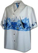 Pacific Legend Men's Border Hawaiian Shirts - 440-3747 White