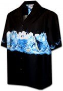 Pacific Legend Men's Border Hawaiian Shirts - 440-3747 Black