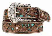 Ariat Women's Tooled Turquoise Leather Inlay Belt