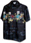 Pacific Legend Men's Border Hawaiian Shirts - 440-3804 Black