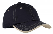Port Authority Vintage Washed Contrast Stitch Cap Black/ Stone