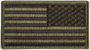 Rothco U.S. Flag Patch - Subdued Olive Drab / Reverse (77 x 51 мм) 17788