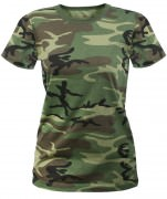 Rothco Womens Long Length Camo T-Shirt Woodland Camo - 5678
