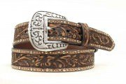 Ariat Women's Tooled And Studded Leather Belt