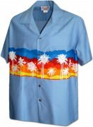 Pacific Legend Men's Border Hawaiian Shirts - 440-3910 Denim