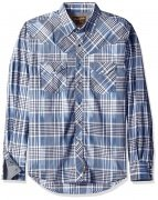 Wrangler® Retro® Long Sleeve Spread Collar Plaid Shirt - Navy/Blue