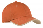 Port Authority Vintage Washed Contrast Stitch Cap Burnt Orange/Light Sand
