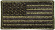Rothco U.S. Flag Patch - Subdued Olive Drab / Forward (77 x 51 мм) 1778